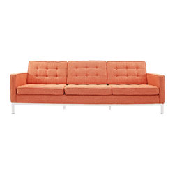 LexMod - Florence Style Sofa in Orange Tweed - The mid-20th century was a time when hopes were at their highest. Technological developments were bustling forward, and the new world was just barely visible in the distance. But this time also presented a dilemma of sorts. The test of this forthcoming era was to be whether industry would foster comfort or stifle it.
