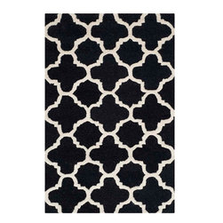 """Safavieh - Hugo Hand Tufted Rug, Black / Ivory 2'6"""" X 4' - Construction Method: Hand Tufted. Country of Origin: India. Care Instructions: Vacuum Regularly To Prevent Dust And Crumbs From Settling Into The Roots Of The Fibers. Avoid Direct And Continuous Exposure To Sunlight. Use Rug Protectors Under The Legs Of Heavy Furniture To Avoid Flattening Piles. Do Not Pull Loose Ends; Clip Them With Scissors To Remove. Turn Carpet Occasionally To Equalize Wear. Remove Spills Immediately. Bring classic style to your bedroom, living room, or home office with a richly-dimensional Safavieh Cambridge Rug. Artfully hand-tufted, these plush wool area rugs are crafted with plush and loop textures to highlight timeless motifs updated for today's homes in fashion colors."""