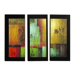 UMA - Warmth of Light Wood Panels Set of 3 - Warm patches of color drench this trio of wood panels that are accented with textured floral shapes.