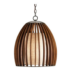 Kathy Kuo Home - Carina Wood and Burlap Slat Mid Century Style Bell Pendant Lamp - A distinctly mid century modern attitude informs the line and construction of this wood and burlap lighting beauty.  However, the same brevity and elegance makes it a classically Asian pendant too.  A coarse textural burlap makes adds additional interest to the warm light which is cast.