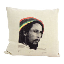 reStyled by Valerie - Bob Marley Throw Pillow Cover, Cushion Cover - Any music lover will feel 'one love' for this pillow cover that features an individually screen printed image of reggae icon Bob Marley. Hand cut and made in the USA, it's made from a blend of linen and rayon and features a zippered bottom for easy removal.