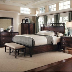 ART Furniture - Intrigue Shelter 5-piece King-size Bedroom Set - 61176 - 5SET - Set includes: King shelter bed, drawer dresser, fretwork mirror and stone top bachelors chest, sliding door chiffarobe