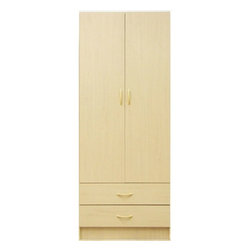 "Hazelwood Home - Armoire - 2 Door Wardrobe Features: -Two doors and two drawers.-Collection: RLI Wardrobe.-Distressed: No.-Powder Coated Finish: No.-Gloss Finish: No.-Solid Wood Construction: No.-Hardware Material: Metal.-Non Toxic: Yes.-Scratch Resistant: No.-Number of Interior Shelves: 1.-Drawer Dividers: No.-Number of Cabinets: 1.-Clothing Rod Included: Yes.-Clothing Rod Material: Metal.-Removable Clothing Rod: Yes.-Clothing Rod Weight Capacity: 30 lbs.-Media Cable Hole: No.-Pull Out TV Swivel: No.-Media Player Storage: No.-Media Storage: No.-Media Storage Capacity: No.-Hidden Storage: No.-Felt Lined Drawers: No.-Wraparound Doors: Yes.-Mirror Included: No.-Fits Adult Size Hangers: Yes.-Safety Strap Included: Yes.-Storage Function: Clothing.-Finished Back: No.-Commercial Use: No.-Eco-Friendly: No.Specifications: -FSC Certified: No.-EPP Compliant: No.-CPSIA or CPSC Compliant: No.-CARB Compliant: No.-JPMA Certified: No.-ASTM Certified: No.-ISTA 3A Certified: No.-PEFC Certified: No.-General Conformity Certificate: No.-Green Guard Certified: No.Dimensions: -Overall Height - Top to Bottom: 72"".-Overall Width - Side to Side: 28"".-Overall Depth - Front to Back: 18"".-Drawer Interior Height: 8"".-Drawer Interior Width - Side to Side: 28"".-Drawer Interior Depth - Front to Back: 16"".-Cabinet Interior Height: 52"".-Cabinet Interior Width - Side to Side: 26.75"".-Cabinet Interior Depth - Front to Back: 18"".-Clothing Rod Width: 28"".-Clothing Rod Diameter: 1.5"".-Overall Product Weight: 109 lbs.Assembly: -Additional Parts Required: No.Warranty: -Manufacturer provides one year warranty on parts replacement."