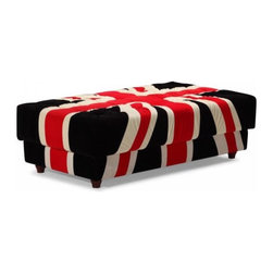 Union Jack Ottoman - The Union Jack is one of the most recognizable designs in the world, and now you can enjoy it as a tufted ottoman.