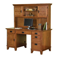 HomeStyles - Double Pedestal Desk with Hutch - Four easy glide drawers. Center drawer drops down to accommodate a keyboard tray. Eco-friendly and sustainable. Clear op coat help to protect against wear and tear from normal use. Designed for home office use with the left pedestal with CPU cabinet and box drawer. Right pedestal has two box drawers and a file drawer. Drop-front keyboard tray nicely accommodates keyboard. Hutch provides extra storage without taking up extra floor space. An open area with a fixed and adjustable shelf along with two cabinets each having an adjustable shelf. Made from Asian hardwood and veneer. Cottage oak finish. Made in Thailand. Computer opening14.5 in. H. Desk: 58 in. W x 28 in. D x 30 in. H. Hutch: 58 in. W x 10.75 in. D x 33.5 in. H. Assembly Instructions for Desk. Assembly Instructions for HutchThe arts and crafts double pedestal desk and hutch combines utility and style and provides lots of storage!