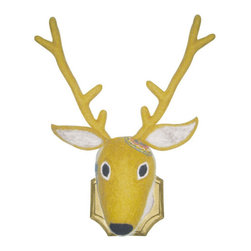 Felty Fred Reindeer Head - This funny guy is thrilled to dress up your wall for the holidays. Made of cushy felt, he's jazzed up with small, colorful accents for a playful take on the trophy trend.