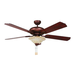 """Yosemite Home Decor - Yosemite Home Decor Whitney 52"""" Traditional Ceiling Fan X-1-BRO-YENTIHW - The WHITNEY-ORB-1 has an oil rubbed bronze with an honey parchment light kit - Elm & Cherry MDF blades. This particular fan requires (3) candelabra base 60 Watt Incandescent bulb. When it comes to passing inspection this fan is UL,Listed and has a Limited Lifetime Warranty that is limited to the motor after the first year. This fan is quiet enough to hear a pin drop and moves air at 3 different speeds so you're sure to find this a comfy addition to any room. Light kit is included and controlled by a 3-speed pull chain. Remote control is sold separately."""