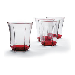 Frontgate - Set of Four Kim Seybert Double Old Fashion Glasses - Glasses are sold in sets of 4. Made from impact-resistant acrylic. Hand wash pitcher and beverage dispenser; all others, top-rack dishwasher safe. Not recommended for microwave use. Coordinates with our entire Kim Seybert Collection. The coral hue of the Kim Seybert Coral Drinkware Collection brings the taste of the tropics right to your backyard or beach house. This crystal clear acrylic drinkware features a beautiful coral accent.. . . . . Imported.