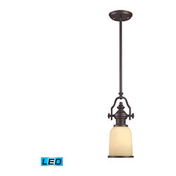Elk Lighting - Landmark Lighting Chadwick 66132-1-LED 1-Light Pendant in OiLED Bronze - LED Off - 66132-1-LED 1-Light Pendant in OiLED Bronze - LED Offering Up To 800 Lumens belongs to Chadwick Collection by Landmark Lighting The Chadwick Collection Reflects The Beauty Of Hand-Turned Craftsmanship Inspired By Early 20Th Century Lighting And Antiques That Have Surpassed The Test Of Time. This Robust Collection Features Detailing Appropriate For Classic Or Transitional decors. White Glass Compliments The Various Finish Options Including Polished Nickel, Satin Nickel, And Antique Copper. Amber Glass Enriches The OiLED Bronze Finish. - LED Offering Up To 800 Lumens (60 Watt Equivalent) With Full Range Dimming. Includes An Easily Replaceable LED Bulb (120V). Pendant (1)