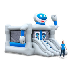 Blast Zone - Blast Zone Bounce Bot Commercial Combo Bounce House Multicolor - BOUNCEBOTCOMMER - Shop for Tents and Playhouses from Hayneedle.com! Leap into the future of fun with the Blast Zone Bounce Bot Commercial Combo Bounce House. With its hi-tech looks and construction this inflatable robot will have everyone inside dancing the Robot while bouncing (which should make for an entertaining sight). Kids can scale the climbing wall to enter the 13 ft. square bouncing platform which accommodates up to eight rambunctious kids ages 3-10 years. To exit race down the dual slides. Made from durable commercial-grade vinyl this fun bounce house has a retractable roof that provides shade on sunny days. The blower is included. Lead-free products: A note from Blast ZoneRecent allegations by the state of California against producers and distributors of inflatable bounce products concerning illegal lead concentrations are of great concern to us and our customers. Blast Zone products are not included in these allegations. All Blast Zone products meet or exceed US and international laws and standards and contain no lead in the material printing substrate or any components whatsoever. Blast Zone diligently adheres to testing standards to ensure a safe product for the consumer and provides items retailers can be confident stocking and selling. While Blast Zone does produce commercial inflatables and Blast Zone residential products utilize a substantial amount of commercial-grade materials our commercial vinyl also meets or exceeds these same international standards for lead phthalates and other contaminants and heavy metals. Why Blast Zone?With their main focus on safety Blast zone manufactures the strongest bouncers in the industry and creates the most exciting designs available. Using 100% commercial-grade impact surfaces the material used in Blast Zone's bouncers is nine times stronger than what's used on average inflatables. Bounce floors and slides use large seamless commercial material so they have fewer seams with less chance of separation. Blast Zone bouncers are reinforced in stress areas to make them twice as durable as typical inflatables and they use X-Weave material with extremely high tensile strength in all directions. Each Blast Zone inflatable is inspected seven times during construction to ensure it meets the strictest quality and safety standards. Their safety netting is twice as thick as the industry standard and soft so it won't scratch or cut bouncers. Each Blast Zone product is designed with your child's safety in mind. They incorporate balanced product distribution safe climbing surfaces safe slide heights and more. Finally they provide breathable storage cases. Blast Zone's carrying cases allow moisture to dissipate from inflatables rather than keeping it locked inside leading to mildew. About Blast ZoneBlast Zone has been making safe toys for kids all over the world since 1996. For over a decade they've designed and manufactured compliant hazard-free toys for major licensors and retailers including Disney Warner Brothers Dreamworks Marvel Porchlight Entertainment and more. The same principles of quality and safety that have applied to their toys also apply to Blast Zone inflatables. The mission of Blast Zone inflatables is simple: provide safe fun affordable inflatables and make kids dreams come true.