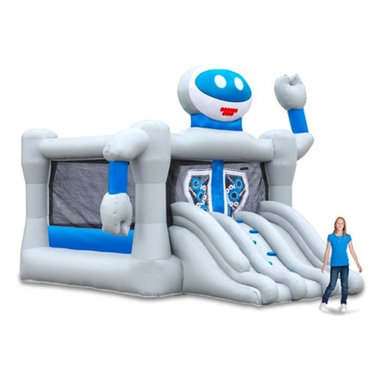 Blast Zone - Blast Zone Bounce Bot Commercial Combo Bounce House Multicolor - BOUNCEBOTCOMMER - Shop for Tents and Playhouses from Hayneedle.com! Leap into the future of fun with the Blast Zone Bounce Bot Commercial Combo Bounce House. With its hi-tech looks and construction this inflatable robot will have everyone inside dancing the Robot while bouncing (which should make for an entertaining sight). Kids can scale the climbing wall to enter the 13 ft. square bouncing platform which accommodates up to eight rambunctious kids ages 3-10 years. To exit race down the dual slides. Made from durable commercial-grade vinyl this fun bounce house has a retractable roof that provides shade on sunny days. The blower is included. Lead-free products: A note from Blast ZoneRecent allegations by the state of California against producers and distributors of inflatable bounce products concerning illegal lead concentrations are of great concern to us and our customers. Blast Zone products are not included in these allegations. All Blast Zone products meet or exceed US and international laws and standards and contain no lead in the material printing substrate or any components whatsoever. Blast Zone diligently adheres to testing standards to ensure a safe product for the consumer and provides items retailers can be confident stocking and selling. While Blast Zone does produce commercial inflatables and Blast Zone residential products utilize a substantial amount of commercial-grade materials our commercial vinyl also meets or exceeds these same international standards for lead phthalates and other contaminants and heavy metals. Why Blast Zone?With their main focus on safety Blast zone manufactures the strongest bouncers in the industry and creates the most exciting designs available. Using 100% commercial-grade impact surfaces the material used in Blast Zone's bouncers is nine times stronger than what's used on average inflatables. Bounce floors and slides use large seamless commercia