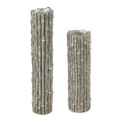 "Sterling Industries - Silver Bamboo Pillar Candle Holders, Set of 2 - Set the perfect ambiance at the table, next to a bath, on the outdoor patio, or in the bedroom with the silver bamboo set of 2 bamboo pillar candle holders by Sterling. The pillar candle holders replicate the natural textures and fine grains of real bamboo and when displayed on a mantle, table or shelf, they will add an organic element to your decorating scheme. Large candle holder is 5 inches wide and 22 inches high and accommodates up to a 4.25"" diameter candle and the small candle holder is 4 inches wide and 14 inches high and will accommodate up to a 3.25 inch diameter candle."