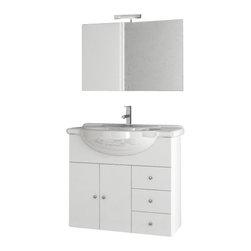 ACF - 32 Inch Glossy White Bathroom Vanity Set - Set Includes: Vanity Cabinet (2 Doors,1 Drawer).