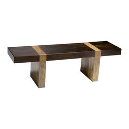 Kathy Kuo Home - Berkeley Solid Wood Modern Rustic Bench Low Console - The beauty of contrasting wood is brought into sharp focus in the simple lines of this minimalist piece.  Use it as a bench or a console.  Whatever setting you choose, the grain details and warm finish add a distinct elegance to any room.