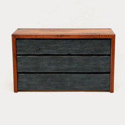 "Artless - Artless | SQR Dresser - Made in Los Angeles by ARTLESS.Complementary to other SQR pieces, the SQR Dresser is composed of a 2"" solid Walnut frame with recessed drawers in reclaimed wood. Three graphite treated reclaimed mid-west barn wood drawers are recessed into the wood frame. There is .75"" gap between each drawer which acts as a finger pull handle, while highlighting the unique nature of each drawer. The drawers have easy closing mechanisms, and the back of the piece looks just like the front."