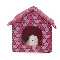 """Favorite - Favorite Oxford Fabric Pet House, Red Heart - This bed includes 3 pieces: a roof, a house body and a cushion. The collapsible pet house with zipper provides stylish, comfortable and secure resting place for your pets. The polyester cover is hair-resistant and easy cleaning, breathable in summer. Color: Red heart. Size: 17"""" L x 17.5"""" W x 18.5"""" H."""