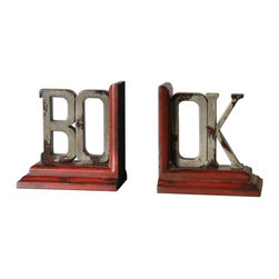 Uttermost - Book Distressed Bookends, Set of 2 - These bookends feature a heavily distressed, burnt red and ash gray finish with hickory undertones.