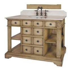 Belle Foret - Single Basin Vanity w Cream Marble Top in Dis - Manufacturer SKU: BF80022R. Includes:. Undermount white porcelain basin. Antique Brass cabinet hardware. Backsplash. Faucet Not Included. Cream Marble top & backsplash. Distressed Parchment finish. 8 functional drawers and 2 faux drawers. Pre-drilled for 8 in. center faucet, not included