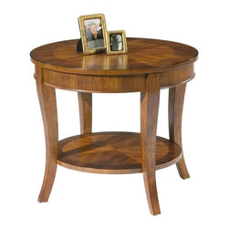 Liberty Furniture - Bradshaw Round End Table - Ornate veneering design. Flared legs. 8-way matched veneer and walnut edge. Veneered bottom shelf. Warranty: One year. Made from select hardwoods, cherry and walnut veneers. Multi-step hand applied rich cherry finish. 26 in. Dia. x 23 in. H (29 lbs.)