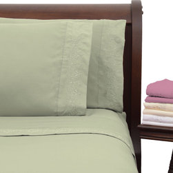 None - Presidential Suite Sage Embroidered Sheet Set - This Presidential Suite embroidered sheet set will add a touch of subtle style to your bedroom. These sheets are made with high-quality microfiber and double brushed for extra softness and luxury,while requiring minimal maintenance.