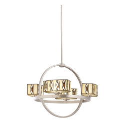 Kichler Lighting - Kichler Lighting Pending Family Assignment Chandelier 4Lt Contemporary Tiffany M - This chandelier will be a true showpiece in your home. While thoroughly modern, this design retains warmth and charm. The Tiffany shades are elegantly arranged in a circular frame which comes in a brushed nickel finish. The Kichler Lighting Pending Family Assignment chandelier adds a touch of elegance to the room.