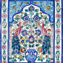 """Hand Painted Mosaic Murals - Beautiful decorative mosaic mural. Total size of mural 24"""" wide x 30"""" height. Hand painted in Tunisia, a southern Mediterranean country. Mosaic panel consist of 20 ceramic tiles, each tile is 6"""" x 6"""" x 0.25 thick. Ceramic tiles are fired twice between 500-600 degrees in a ceramic oven. Murals have a colorful and glossy finish. Ceramic tiles are scratch resistant, water and fade resistant. Great for indoor or outdoor use. Easy set up and Heavy duty. Ref; CCT1204"""