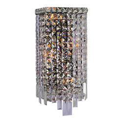 """Worldwide Lighting - Cascade 4 Light Chrome Finish Crystal Wall Sconce Light ADA 8"""" W Small - This stunning 4-light wall sconce only uses the best quality material and workmanship ensuring a beautiful heirloom quality piece. Featuring a radiant chrome finish and finely cut premium grade crystals with a lead content of 30%, this elegant wall sconce will give any room sparkle and glamour. ADA Compliant (this wall sconce does not protrude no more than 4"""" from wall). Worldwide Lighting Corporation is a privately owned manufacturer of high quality crystal chandeliers, pendants, surface mounts, sconces and custom decorative lighting products for the residential, hospitality and commercial building markets. Our high quality crystals meet all standards of perfection, possessing lead oxide of 30% that is above industry standards and can be seen in prestigious homes, hotels, restaurants, casinos, and churches across the country. Our mission is to enhance your lighting needs with exceptional quality fixtures at a reasonable price."""