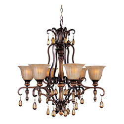 Maxim Lighting - Tuscan Six Light Up Lighting Chandelier - Lighting your life since 1970, Maxim Lighting is committed to offering you outstanding quality and satisfaction.