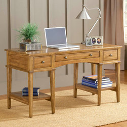 Hillsdale Furniture - Hillsdale Gresham 3 Drawer Desk in Medium Oak - Rich wood grains  simple styling  and ample convenient shelves and hidden storgae drawers make Hillsdale's Gresham desk a perfect home office desk. Attractive  easy to assemble  and even easier on your wallet  the Gresham desk will be ideal for your laptop  bills or homework. Composed of solids and wood composites. Some assembly required.