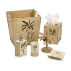 Croscill - Croscill Fiji Boutique Tissue Holder - Add a touch of paradise to your bathroom with this tropical inspired bath ensemble. The tumbler, lotion pump and soap dish are made of resin, with appliqued palm tree motifs and areas of textured basketweave accenting.