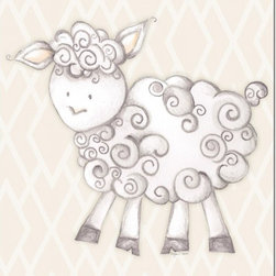 "Doodlefish - Shelby Sheep Tan - Shelby Sheep is an 18"" x 18"" Gallery Wrapped Giclee Print of a mix of graphical elements and a drawing of a fluffy sheep with a curly tail.  Choose the background color and the background pattern to match your child's room,  Add your child's name or even your favorite pet.  This artwork is also available mounted in a painted frame of your choice.    The finished size of the mounted piece is approximately 22""x22""."