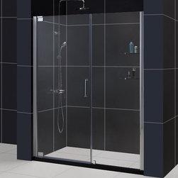 """DreamLine - DreamLine SHDR-4158720-04 Elegance Shower Door - DreamLine Elegance 58 to 60"""" Frameless Pivot Shower Door, Clear 3/8"""" Glass Door, Brushed Nickel Finish"""