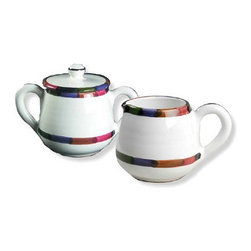 Artistica - Hand Made in Italy - Circo: Sugar and Creamer Set - The Circo-Bello collection is an exclusive product from Deruta of Italy designed by Bill Goldsmith.