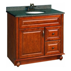 """DHI-Corp - Montclair Chestnut Glaze Vanity Cabinet with 1-Door and 2-Drawers, 36"""" by 33.5"""" - The Design House 538553 Montclair Chestnut Glaze Vanity Cabinet is made of solid wood door and drawer frames and finished in a chestnut glaze with a water resistant seal. This product features oil rubbed bronze hardware, particle board side panels and concealed hinges. Add an additional shelf inside this cabinet for even more storage. With its ball bearings, the full extension drawer glides open smoothly. Measuring 33.5-inches by 21-inches by 36-inches, this vanity fits in small to medium sized bathrooms while providing ample storage space. This product comes pre-assembled and features a modern aesthetic that matches traditional furnishings and granite tops. Vanity top is not included with this product. The Design House 538553 Montclair Chestnut Glaze Vanity Cabinet has a 1-year limited warranty that protects against defects in materials and workmanship. Design House offers products in multiple home decor categories including lighting, ceiling fans, hardware and plumbing products. With years of hands-on experience, Design House understands every aspect of the home decor industry, and devotes itself to providing quality products across the home decor spectrum. Providing value to their customers, Design House uses industry leading merchandising solutions and innovative programs. Design House is committed to providing high quality products for your home improvement projects."""