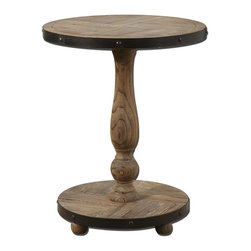 Uttermost - Uttermost Kumberlin Wooden Round Table - Solid, natural fir wood weathered and sanded smooth with aged black metal banding.