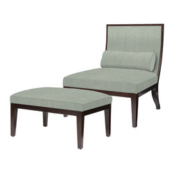 Kathy Kuo Home - Hayden Modern Elegant Herringbone Linen Slipper Chair with Ottoman - We love the graceful curve of this chair's back, which works in beautiful contrast to the right angles and sleek modern lines of the included ottoman.  Contemporary spaces will find this a most welcome and comfortable piece. Sit back, relax and enjoy the one year warranty.