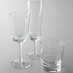 "Horchow - ""Victoria"" Glassware - Looking for glassware that's as delightful to hold as it is to behold? The sleek styling of this design is sure to grace many gatherings. Dishwasher safe. Sold in sets of four. Flutes hold 8 ounces. Wine glasses hold 8 ounces. Double old-fashioneds..."