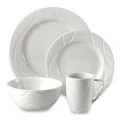 Lenox - Lenox Vibe Dinnerware 4-Piece Place Setting - The bold and modern Lenox Vibe porcelain dinnerware will be a striking addition to your table, with its crisp white foundation and whimsical swirling lines. A perfect accompaniment to any casual or formal gathering.
