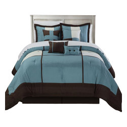 Chic Home - Dorchester Blue Queen 8 Piece Comforter Bed in a Bag Set - Quilted Patchwork Comforter Set, Solid Color Block Tone on Tone comforter set is so perfectly put together. The solid Lavender and Plum Tones will give you a perfect Contemporary look with simplicity. This 8-piece lavish comforter set comes with everything you need to do a complete makeover for your master or guest suite.