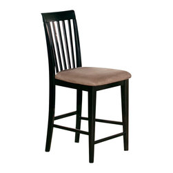 Atlantic Furniture - Atlantic Furniture Mission Pub Chair in Espresso (Set of 2) - Atlantic Furniture - Bar Stools - AD771231 - The Atlantic Furniture Mission Pub Chairs are constructed from Eco-friendly solid hardwood and have an elegant Espresso wood finish. This set of two pub chairs feature a vertical slat back design and a Cappuccino colored seat cushion. The Mission Pub Chairs are perfect for a casual dining room setting.