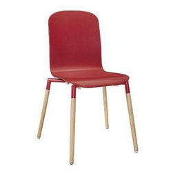 """LexMod - Stack Wood Dining Chair in Red - Stack Wood Dining Chair in Red - Acquaint yourself with an intelligent piece concealed behind sheer simplicity. Stack exhibits fluid lines and an organic form in a seamless transition from the abstract to the definite. Made from a painted durable steel top and solid beech wood legs, Stack coalesces both form and purpose in a harmoniously designed piece that matches well in any uncomplicated decor. Set Includes: One - Stack Wood Dining Chair Modern dining chair, 25mm steel tube frame, Solid beech wood legs, Foot caps to prevent scratching, No assembly required, Chair Weight Capacity: 330 lb Overall Product Dimensions: 18""""L x 16.5""""W x 34""""H Seat Height: 17.5""""L x 15.5""""W x 17.5""""HBACKrest Dimensions: .5""""L x 16.5""""H - Mid Century Modern Furniture."""