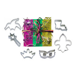 "CookieCutter - Mardi Gras Tin Cookie Cutter 6 Piece Set L9020 - Set includes 4"" Jester Hat, 4"" Magic Wand, 3.5"" Crown, 4"" Mardi Gras Mask, 4.5"" Fleur D Lis, 3.25"" State of Louisiana."