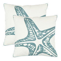 Safavieh - Safavieh Whitney Pillow (2) X-2TES-8181-A068LIP - Modern art for the sofa, Safavieh's 100% percent cotton pillow cover is the canvas for a dramatic blue starfish outline on cream ground.