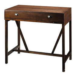 Home Decorators Collection - Wyatt Hideaway Desk - The functional yet fashionable Wyatt Hideaway Desk is expertly crafted of wood and features a warm finish and antique-inspired design. Its compact form factor makes it easy to use in any space within your home. Add this timeless desk to your home office furniture arrangement today. Back is finished. Includes two wide drawers for your office essentials. A slide-out board extends your work surface. Desk converts to a stylish console table when not in use. Crafted from quality materials for years of lasting beauty and use. Complements a wide range of home decor styles.