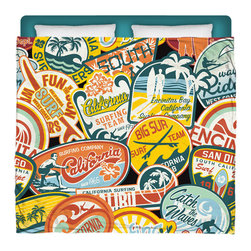 "Made In USA ""California Vintage Stickers"" Surfer Bedding King Size Comforter - Surf Into Your Bed With This Premium ""California Vintage Stickers"" King Size Comforter From Our Surfer Bedding Bed and Bath Collection."