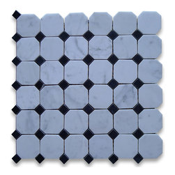 "Stone Center Corp - Carrara Marble Octagon Mosaic Tile 2 inch Polished - Carrara white marble 2"" octagon pieces mounted on 12"" x 12"" sturdy mesh tile sheet"