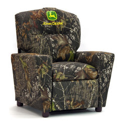 "KidzWorld - John Deere Kid's Recliner - This brand new addition to our line of licensed kid's recliners features the popular Mossy Oak camouflage fabric with the addition of the John Deere logo on the upper portion of the inside backrest. We feel confident that any young outdoor fan will now be excited to also have his favorite tractor on the same piece of furniture! Features: -Recommended for ages 3-7.-John Deere collection.-Product Type: Chair.-Collection: John Deere.-Finish: Camouflage.-Hardware Finish: Steel.-Distressed: No.-Powder Coated Finish: No.-Gloss Finish: No.-Frame Material: Mixed hardwood.-Hardware Material: Steel.-Solid Wood Construction: Yes.-Number of Items Included: 1.-Non-Toxic: No.-UV Resistant: No.-Fire Resistant: No.-Stain Resistant: No.-Mildew Resistant: No.-Insect Resistant: No.-Arms Included: Yes.-Upholstered Seat: Yes -Seat Upholstery Material: Polyester fibers & densified fibers.-Seat Upholstery Color: Camouflage.-Removable Seat Cushions: No.-Seat Cushion Fill Material: Polyester fibers & densified fibers.-Removable Seat Cushion Cover: No.-Tufted Seat Upholstery: No.-Welt on Seat Cushions: No..-Upholstered Back: Yes -Back Upholstery Material: Cotton.-Back Upholstery Color: Camouflage with John Deere logo.-Removable Back Cushions: No.-Back Cushion Fill Material: Polyester fibers & densified fibers.-Removable Back Cushion Cover: No.-Tufted Back Upholstery: No.-Welt on Back Cushions: No..-Nailhead Trim: No.-Rocker: No.-Swivel: No.-Glider: No.-Reclining: Yes.-Footrest Included: Yes.-Stackable: No.-Foldable: No.-Inflatable: No.-Legs Included: Yes -Number of Legs: 4.-Leg Material: Plastic.-Protective Floor Glides: No..-Casters: No.-Cupholder: Yes.-Skirted: No.-Ottoman Included: No.-Adjustable Height: No.-Ergonomic Design: No.-Age Recommendation: 3 to 7 yrs..-Outdoor Use: No.-Seating Capacity: 1.-Weight Capacity: 75 lbs.-Swatch Available: No.-Commercial Use: No.-Recycled Content: No.-Eco-Friendly: Yes.-Product Care: May be wiped clean with damp cloth and mild soap, air dry.-Country of Manufacture: United States.-Convertible: No.Specifications: -FSC Certified: No.-CPSIA or CPSC Compliant: Yes.-CARB Compliant: Yes.-Green Guard Certified: No.Dimensions: -Overall Height - Top to Bottom: 28"".-Overall Width - Side to Side: 24.5"".-Overall Depth - Front to Back: 23"".-Seat Height: 13.5"".-Seat Width - Side to Side: 14"".-Seat Depth - Front to Back: 14"".-Legs: -Leg Height: 2"".-Leg Width: 1.5"".-Leg Depth: 1.5""..-Arms: -Arm Height: 15"".-Arm Width: 5""..-Depth When Fully Reclined: 27"".-Overall Product Weight: 32 lbs.Assembly: -Assembly Required: No.-Additional Parts Required: No.Warranty: -Product Warranty: 30 days."
