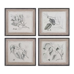 Uttermost - Sepia Leaf Study Wall Art, Set/4 - These Oil Reproductions Feature A Hand Applied Brushstroke Finish. Artwork Is Accented By Light Tan Burlap Mats And Heavily Distressed Black Frames With A Gray And Taupe Wash. The Inner Lip And Liner Of Each Frame Has A Medium Wood Tone Base With A Heavily Distressed, Painted White Finish Topped Off With A Gray And Taupe Glaze.