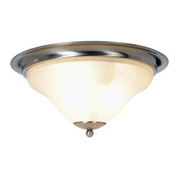 Premier - Three Light 16 inch Flush Mount - Brushed Nickel - Sanibel light fixtures offer exceptional looks, extraordinary convenience, and state-of-the art performance. Sanibel fixtures serve as the inspiration for updating any room in your home. The streamlined style of this three-light ceiling fixture adds elegance to any decor. This fixture uses three 60-Watt bulbs (not included) Features: Brushed nickel finish. Flush mount light fixture, 3 light, brushed nickel finish. 16in. width, 7-5/8in. height. Uses 3 60-Watt medium base bulbs (not included). Frosted glass.