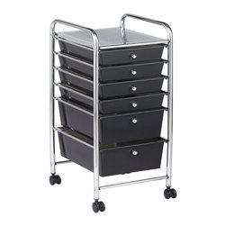 Ecr4kids - Ecr4Kids 6 Drawer Mobile Organizer (Smoke) - This practical organizer can hold just about everything from art and crafts projects to office supplies or even hand tools With its 14 drawers, its perfect for the home or office. Polypropylene drawers easily slide in and out on the chrome plated steel frame rails. This double-wide, multi-purpose organizer glides effortlessly under most tables or desks on 6-swivel casters (2-locking).